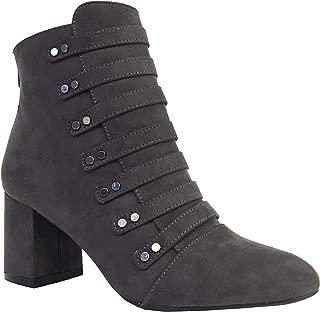 MELBA-16 Women's Embellished Strap Block Heel Ankle Boots