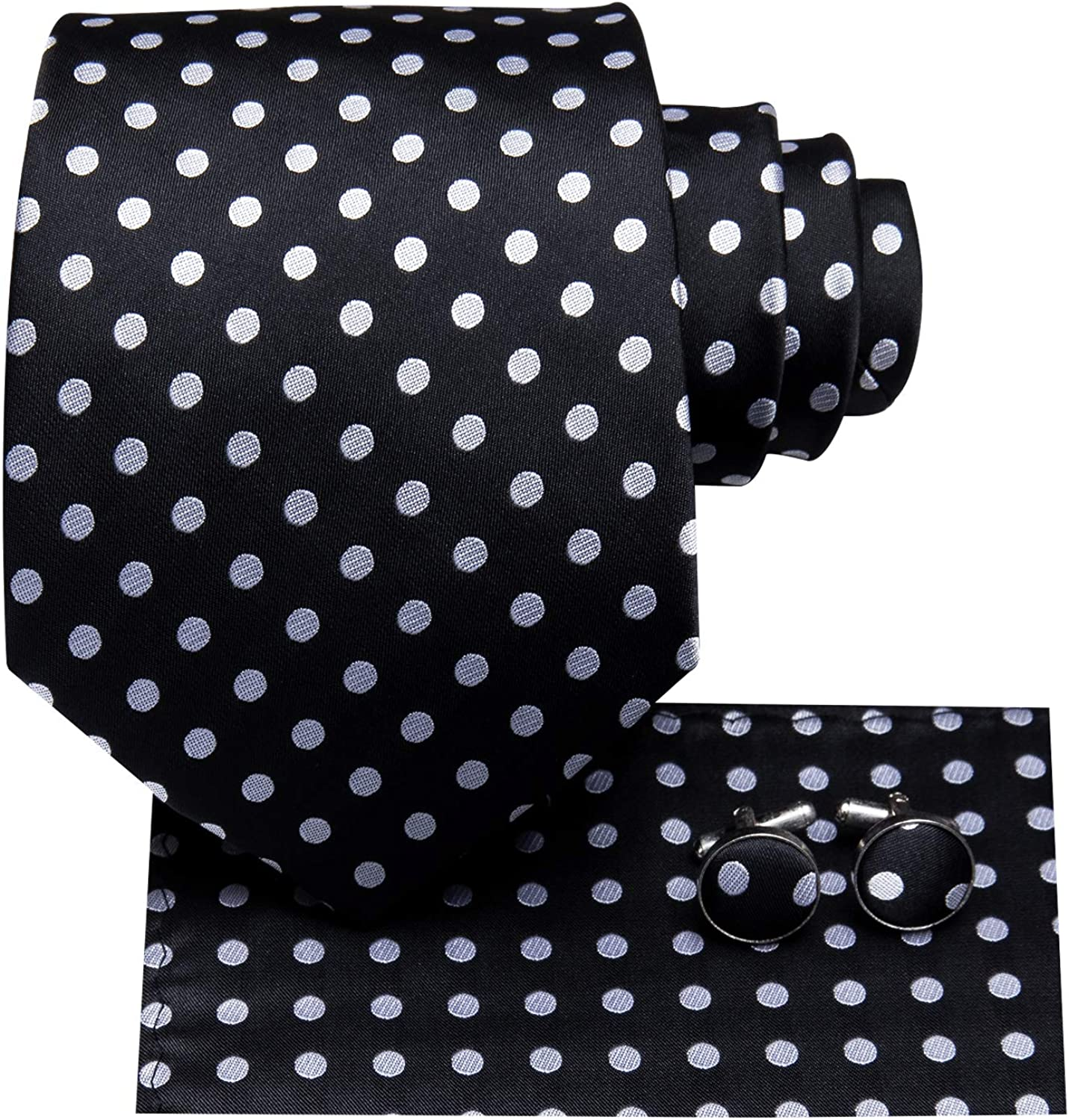 Hi-Tie Men's Black with White Dots Ties for Wedding Silk Tie Classic Neckties with Pocket Square and Cufflinks Set