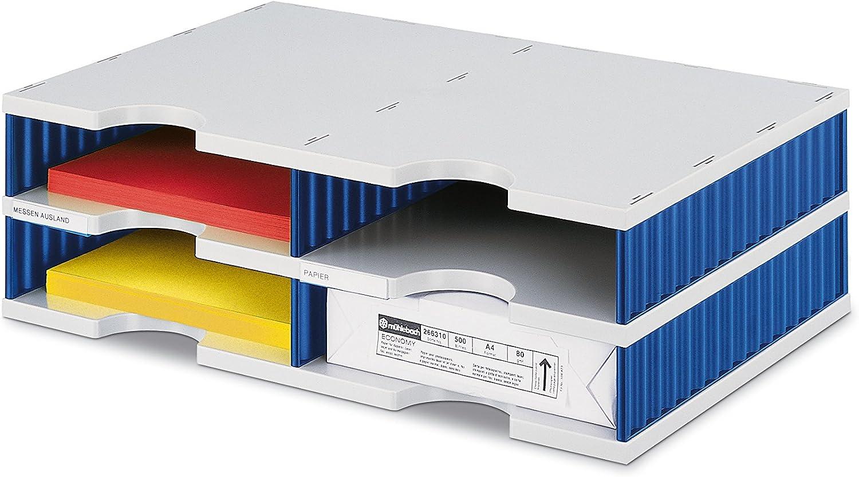 Styrodoc 268020238/Organiseur de bureau station avec deux colonnes//4/compartiments//485/x 331/x 153/mm//gris et bleu