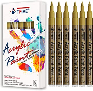 Gold Marker Paint Pens - 6 Pack Acrylic Gold Permanent Marker, 0.7mm Extra Fine Tip Paint Pen for Art projects, Drawing, R...