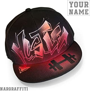 Custom graffiti name painted black flat bill Snapback hat cap