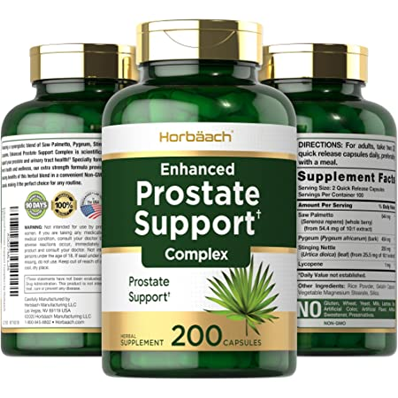 Enhanced Prostate Supplement for Men | 200 Capsules | Prostate Health Herbal Complex | Non-GMO, Gluten Free | by Horbaach