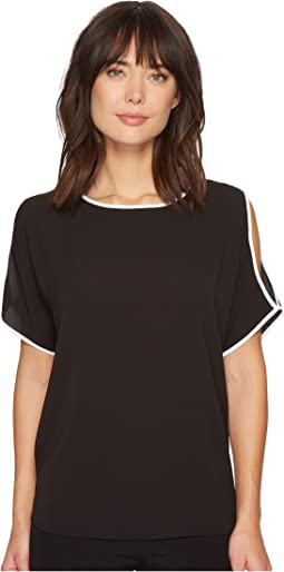 Vince Camuto - Short Sleeve Cold-Shoulder Soft Texture Blouse