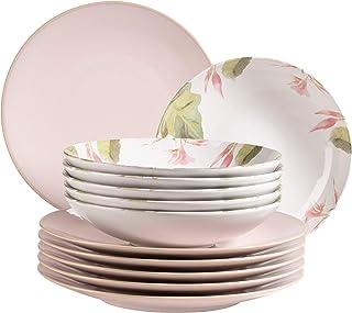MÄSER Ossia Aguarela 931926 Service de table 12 pièces pour 6 personnes au look vintage partiellement décoré, 6 assiettes ...