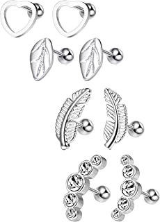 Milacolato 16G Cartilage Tragus Earrings Set for Women Girls Helix Conch Daith Piercing Jewelry 4 Pairs