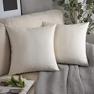 "PHANTOSCOPE Pack of 2 Off-White Decorative Soft Velvet Series Cream White Throw Pillow Case Cushion Cover 20"" x 20"" 50 x 5..."