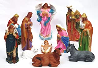 Brahma Crafts Christmas Nativity Crib Set of 11 Pieces Made in polymarble (7.5 inches Height, Baby Jesus- 3.3 inches x 2 inches), Life-Like Christmas Crib Set Statues