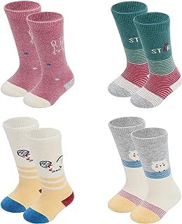 Baby 4 Pack essentials 12-24 months long tube calf knee high socks 0-12months socks for Kids gift...