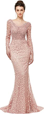 807096b6 Lazacos Women's Luxury Beading Crystals Prom Dress Sexy Mermaid Evening  Party Formal Gown