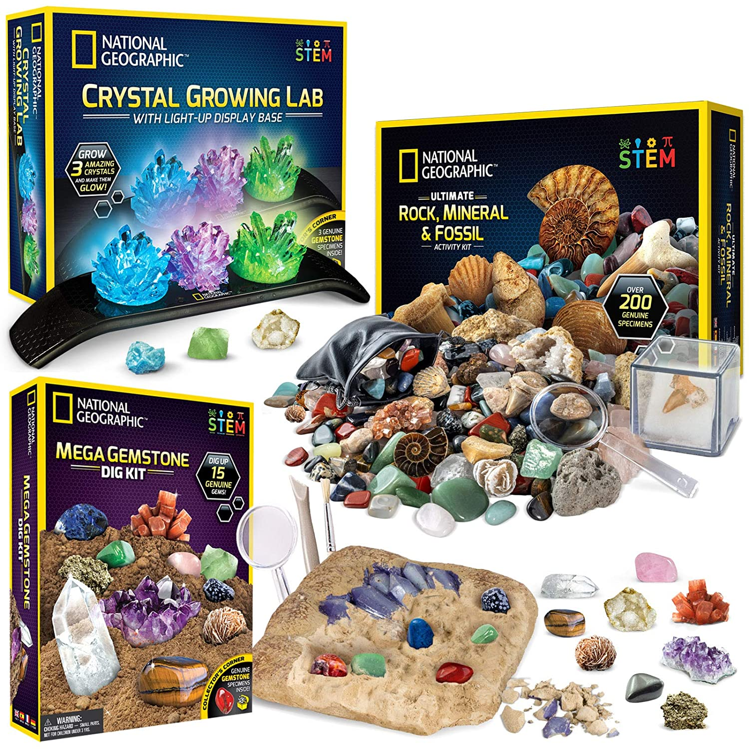 NATIONAL Max 70% OFF GEOGRAPHIC Geology Bundle - Fossil Crystal 3 Colorado Springs Mall Rock and