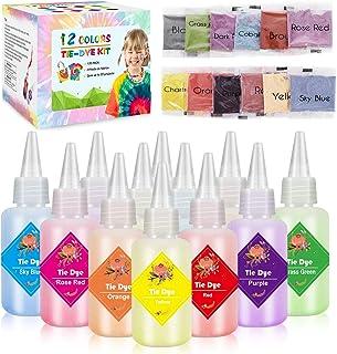 Emooqi Tie Dye Kit, Textiles de Tela 12 Piezas Colores Vibrantes Adecuado para Arte de Bricolaje Tie-Dye para Niños y Adul...