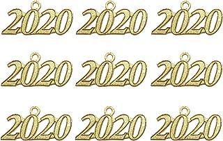 Grekywin Gold Color Signet 2020 Year for Graduation Tassel, Charms Pendants DIY, Bracelet and Necklace, 9 Pcs (9 pcs Gold 2020)