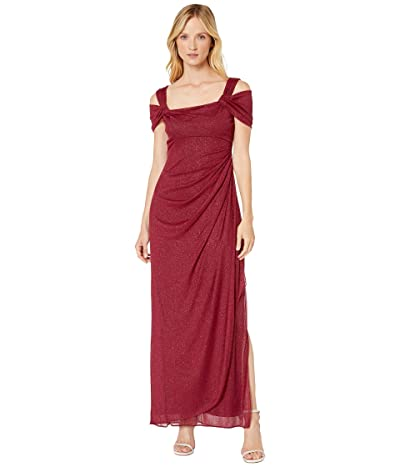 Alex Evenings Long Glitter Mesh Cold Shoulder Dress (Wine) Women