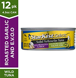 StarKist Selects E.V.O.O. Solid Yellowfin Tuna with Roasted Garlic and Extra Virgin Olive Oil - 4.5 oz Can (Pack of 12)