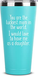 Luckiest Mom, Daughter | 30 oz Mint Insulated Stainless Steel Tumbler w/Lid Mug Cup for Women | Birthday Mothers Day Christmas Gift Ideas from Daughter | Mother Moms Gifts Mugs Idea Kids Children