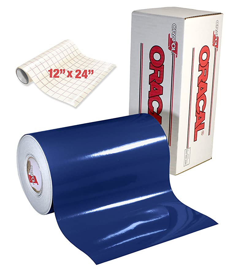 ORACAL 651 Gloss Dark Blue Adhesive Craft Vinyl for Cameo, Cricut & Silhouette Including Roll of Clear Transfer Paper (6ft x 12