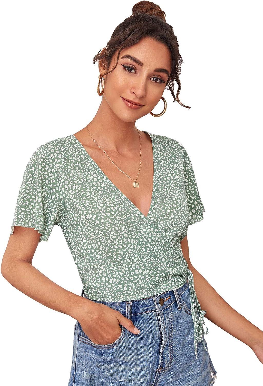SheIn Women's Floral Ruffle Hem Blouse Short Puff Sleeve Deep V Neck Tie Front Crop Top Shirt