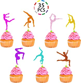 Uniceworld Gymnastics Cupcake Toppers Glitter Cake Food Fruit Dessert Picks Gymnast Themed Girl Birthday Party Decorations 35PCS