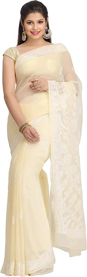 Indian Ada Women's Lucknow Chikankari Hand Embroidered Faux Georgette Saree With Blouse A130223 Fawn Saree