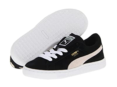 Puma Kids Suede Jr (Big Kid) (Black/White) Kids Shoes