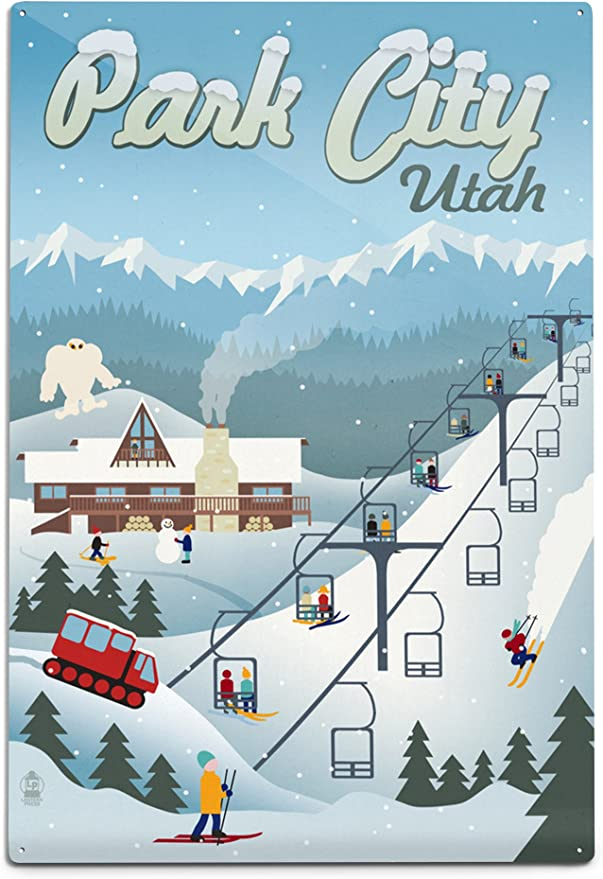 Outdoor Scenery Wall Art Metal Park City Utah Ski Resort Mountains Winter Powder Sports