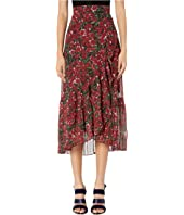 The Kooples - Maxi Pleated Skirt in A Raspberry Love Print