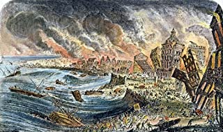 Lisbon Earthquake 1755 Nthe Earthquake In Lisbon Portugal 1 November 1755 Color Wood Engraving Poster Print by (18 x 24)