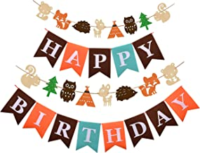 Woodland Creatures Party Decorations for Baby Girls and Boys:1 Fox Deer Forest Animal Garland,1 Happy Birthday Banner,Kids Woodland Themed Party Supplies and Favors,Fox Woodland Nursery Decor,Winter Woodland Room Decor