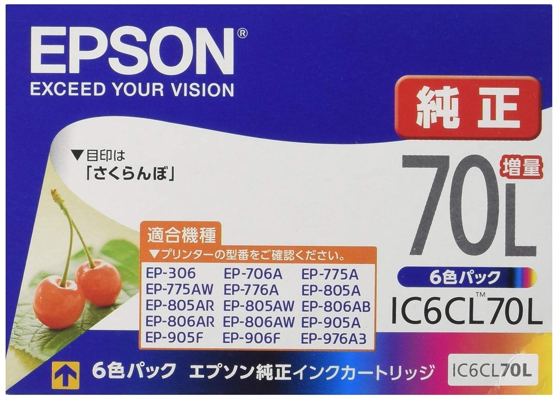 エプソン 純正 インクカートリッジ IC6CL70L 6色セット 増量