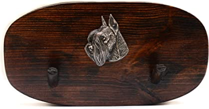Schnauzer, Unique Wooden Hanger with a Relief of a Purebred Dog