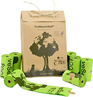 FiveSeasonStuff Leak Proof Dog Waste Poop Bags 100% Biodegradable & Compostable in 3-5 Months,Lavender-Scented (150 Bags, 10 Rolls)