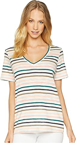 Sunset Stripe Deep V Tee