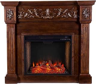 Southern Enterprises Calvert Alexa-Enabled Smart Electric Fireplace, Oak