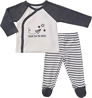 Asher & Olivia Footed Pants Long Sleeve Kimono Shirt 2 Pc Baby Boy Layette Set