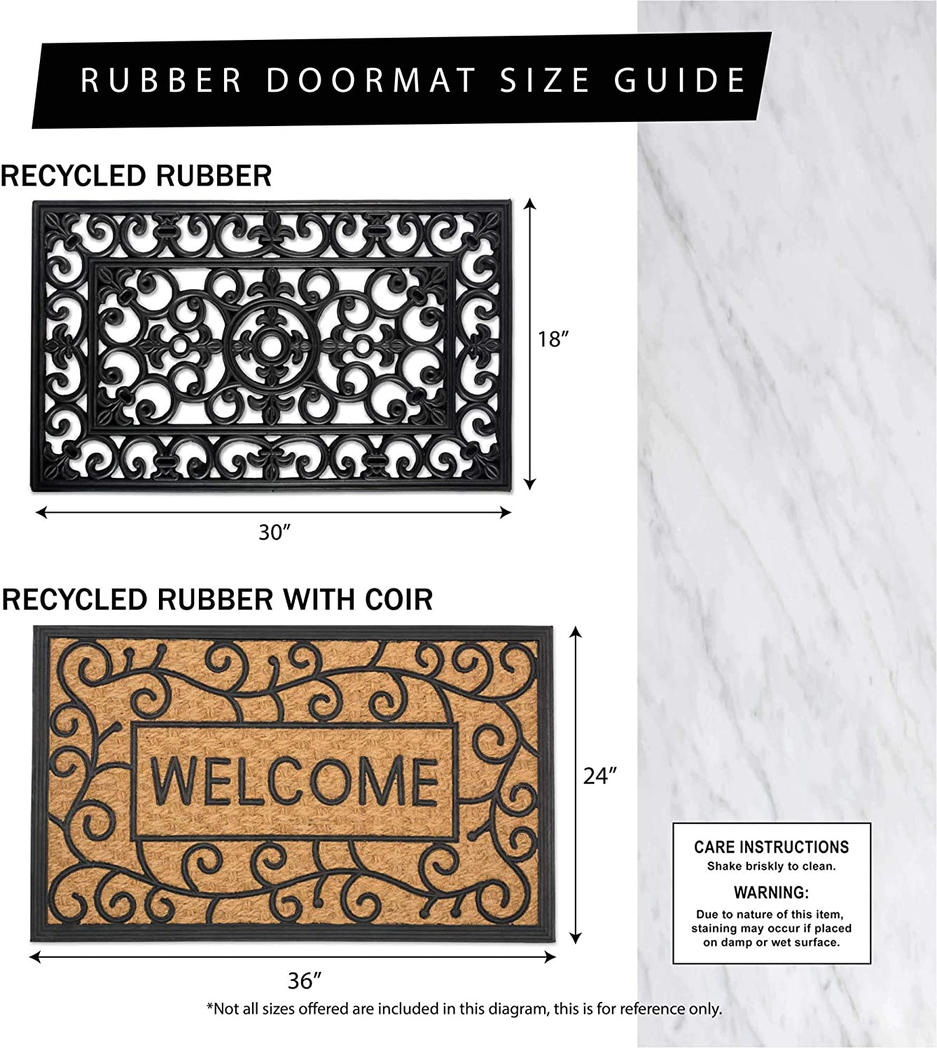 18x30 DII Heavy Duty Rubber Welcome Doormat Outdoor Easy Clean All Weather Floormat Leaves