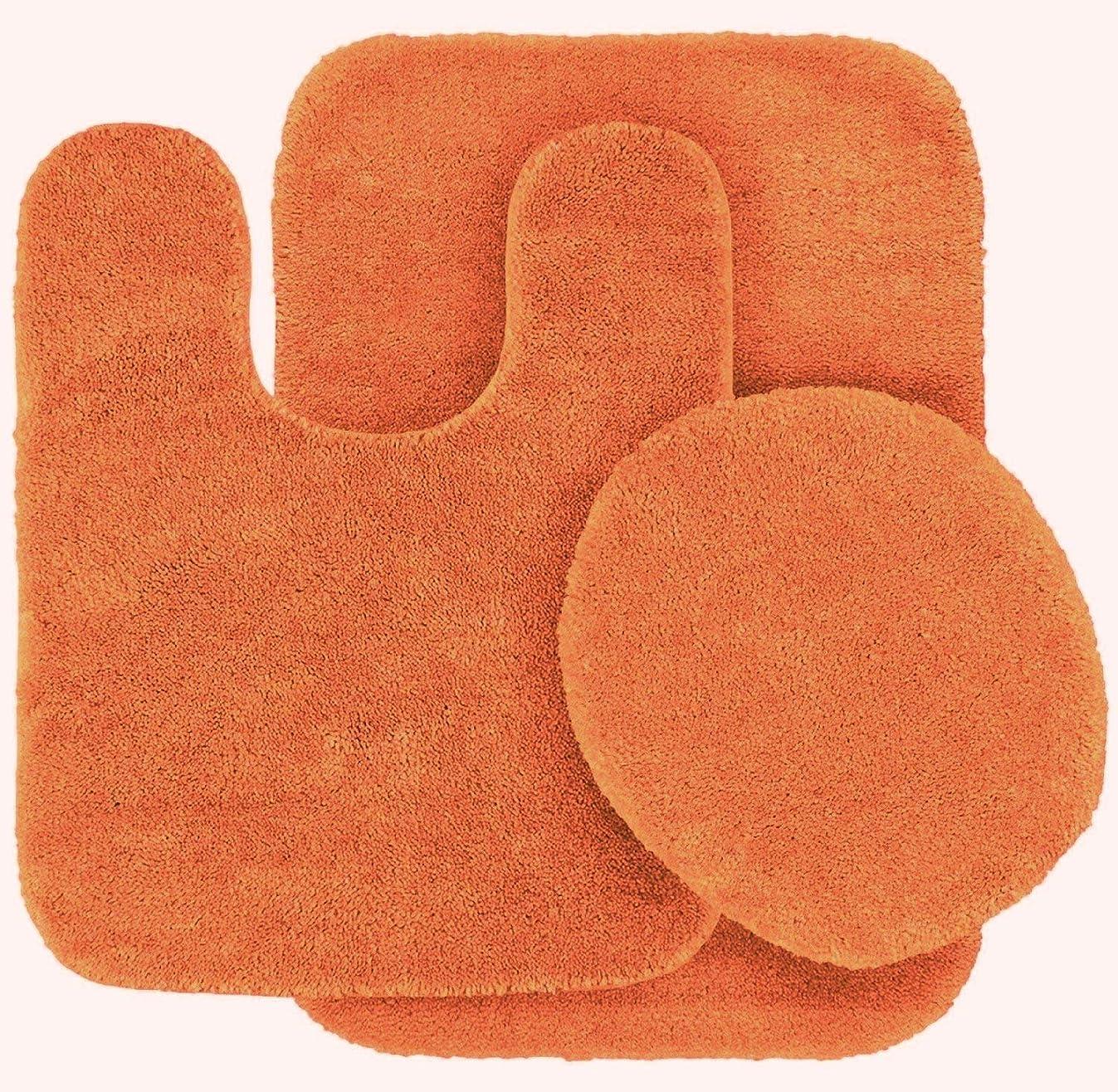 Fancy Linen 3pc Non-Slip Bath Mat Set Solid Orange Bathroom U-Shaped Contour Rug, Mat and Toilet Lid Cover New #Angela
