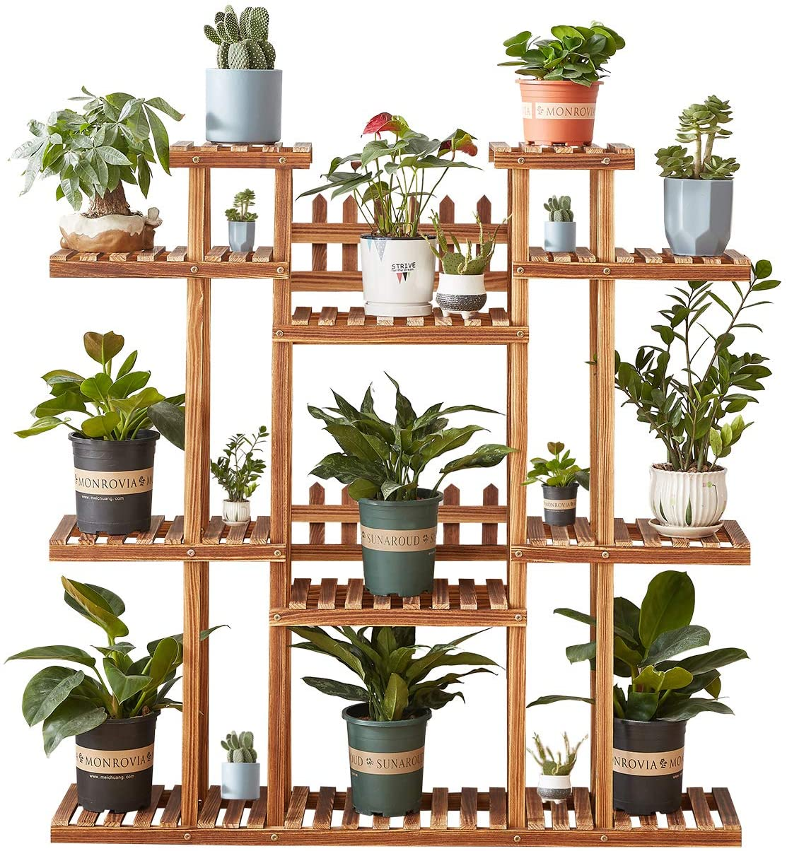 Homchwell 16 Tier Wooden Plant Stand for Indoor & Outdoor,Tiered Plant  Ladder, 16.16 inch Height,Stylish Plant Shelf for Living Room, Patio,  Garden, ...