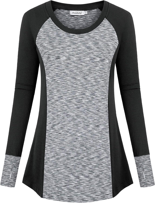 Ninedaily Women's Long Sleeve Workout Shirt Winter Fitness Activewear Casual Top
