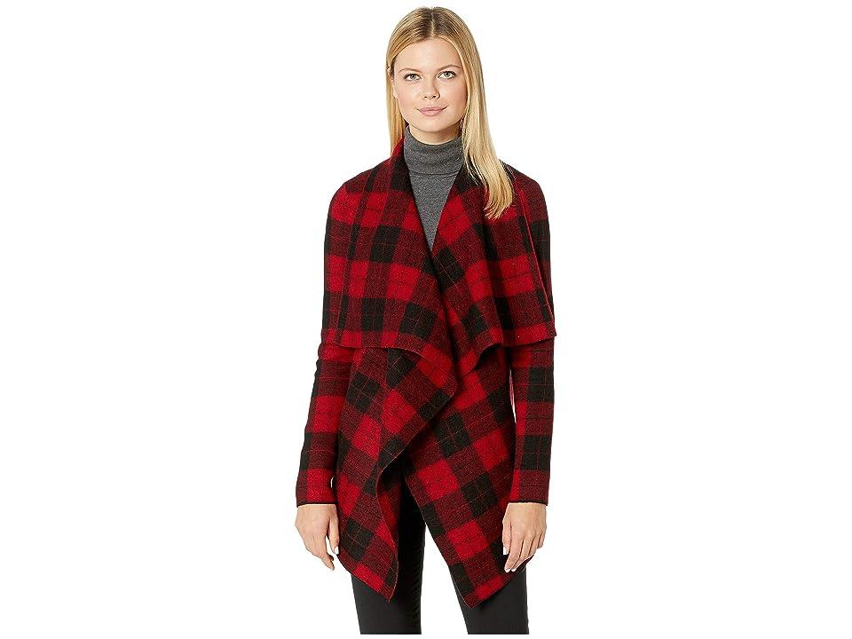 LAUREN Ralph Lauren Checkered Merino Shawl Sweater (Red Multi) Women