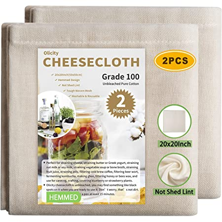 Olicity Cheesecloth, Grade 100, 20x20Inch Hemmed Cheese Cloths for Straining Reusable, 100% Unbleached Cheese Cloth Strainer Muslin Cloth for Cooking, Straining, Jellies Making, Cheese Making - 2 PCS
