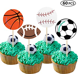 60 Pieces Sports Cupcake Toppers Football Baseball Basketball Rugby Cake Topper for Sport Birthday Party