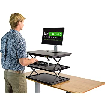 CHANGEdesk Tall Ergonomic Standing Desk Converter with Adjustable Height Keyboard Tray Affordable Compact sit Stand up Desktop Computer Riser Conversion Tabletop Table Topper Office Workstation
