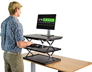 CHANGEdesk Tall Ergonomic Standing Desk Converter with Adjustable Height Keyboard Tray affordable compact sit stand up des...