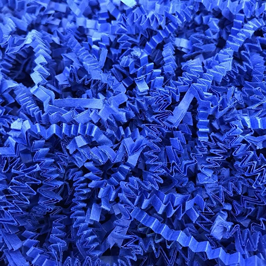 Black Cat Avenue 1/2 LB Royal Blue Crinkle Cut Paper Shred Filler for Gift Wrap and Basket Filler