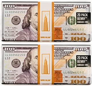 EMPIRE ROLLING - Two Pack Wallets $100 Bill Rolling Paper (40 Papers) - BENNY1 3/4 Inches   Made from Pure All Natural Ingredients   Premium Quality Paper, Organic, 100% Vegan, Non-GMO, Unbleached