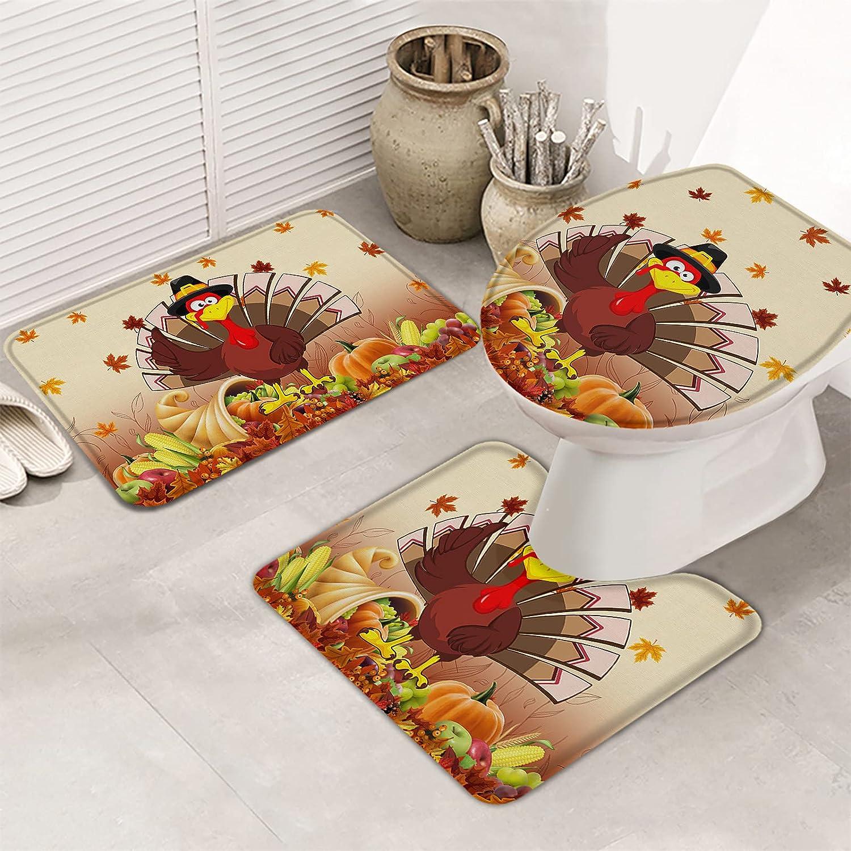 Limited time cheap sale 3 Piece Bath Rugs Set Thanksgiving Harv Superlatite Turkey Autumn Fall Funny