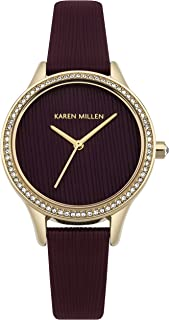 Karen Millen Women's Quartz Watch with Leather Strap, red, 14 (Model: KM165VG)