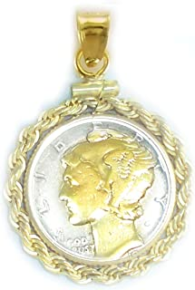 Flintski Jewelry US Mercury Dime 1/20th 14k Gold Filled 24k Gold Plated Highlighted Rope Bezel Coin Pendant