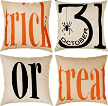 Tatuo 4 Pieces Trick or Treat Cotton Linen Pillowcases Halloween Sofa Cushion Cover for Home Decoration, 18 by 18 Inches