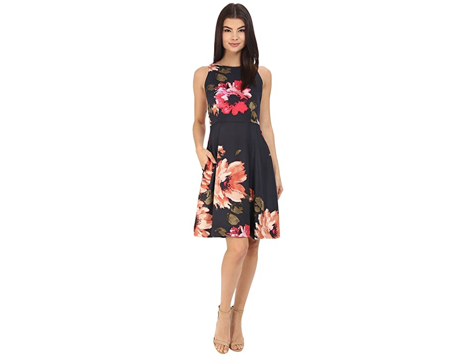 Donna Morgan Sleeveless Printed Twill Fit and Flare (Midnight Multi) Women